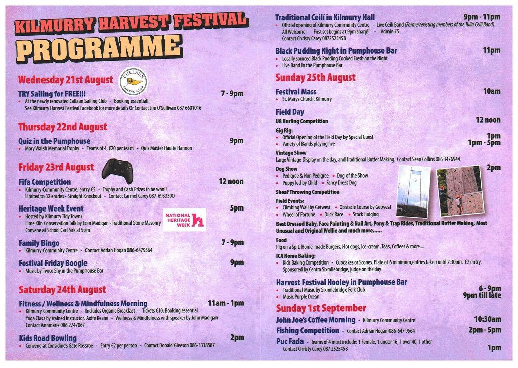 2019 Kilmurry Harvest Festival Brochure is now online.