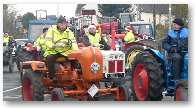 Sean Collins leads the Tractor Bog Run out of Kilmurry.