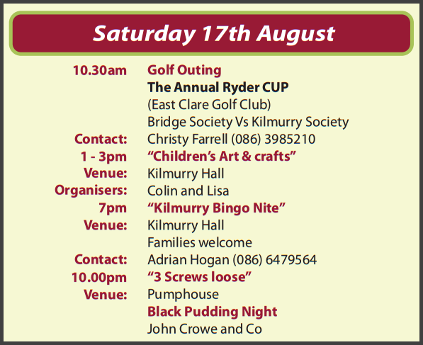 Festival Events for Saturday 17th August 2013…
